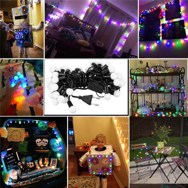 This ball string lights is 4.5m long, diameter of each globe is 0.75 inch/1.9cm. Ideal as ambience decoration for home, garden, Christmas, Thanksgiving, tent, awning, holiday, party, etc.