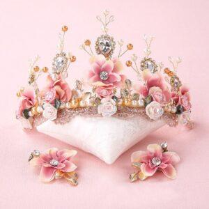 Handmade Floral Tiara and Earrings Set